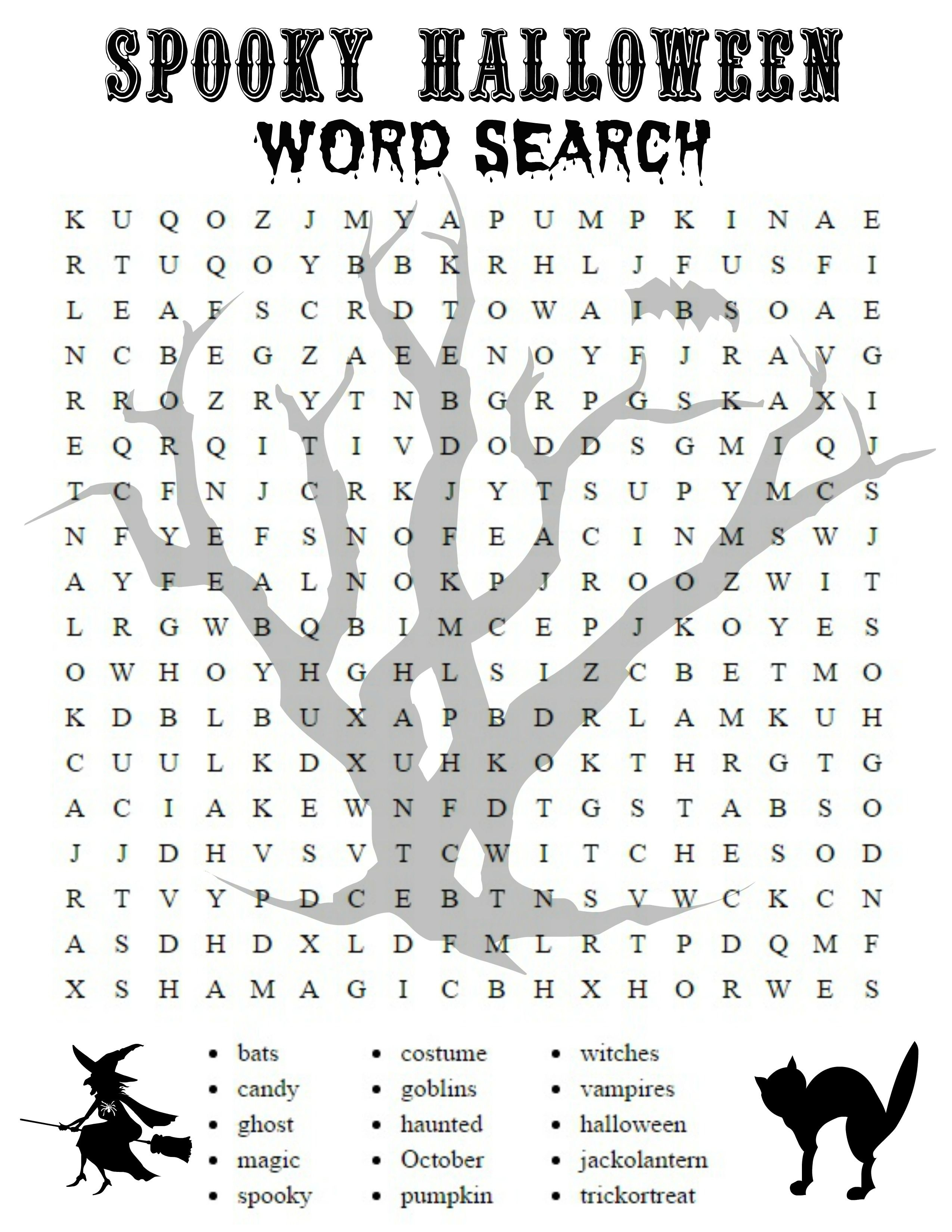 Free Printable Halloween Activities For First Graders   Halloween - Free Printable Halloween Word Search Puzzles