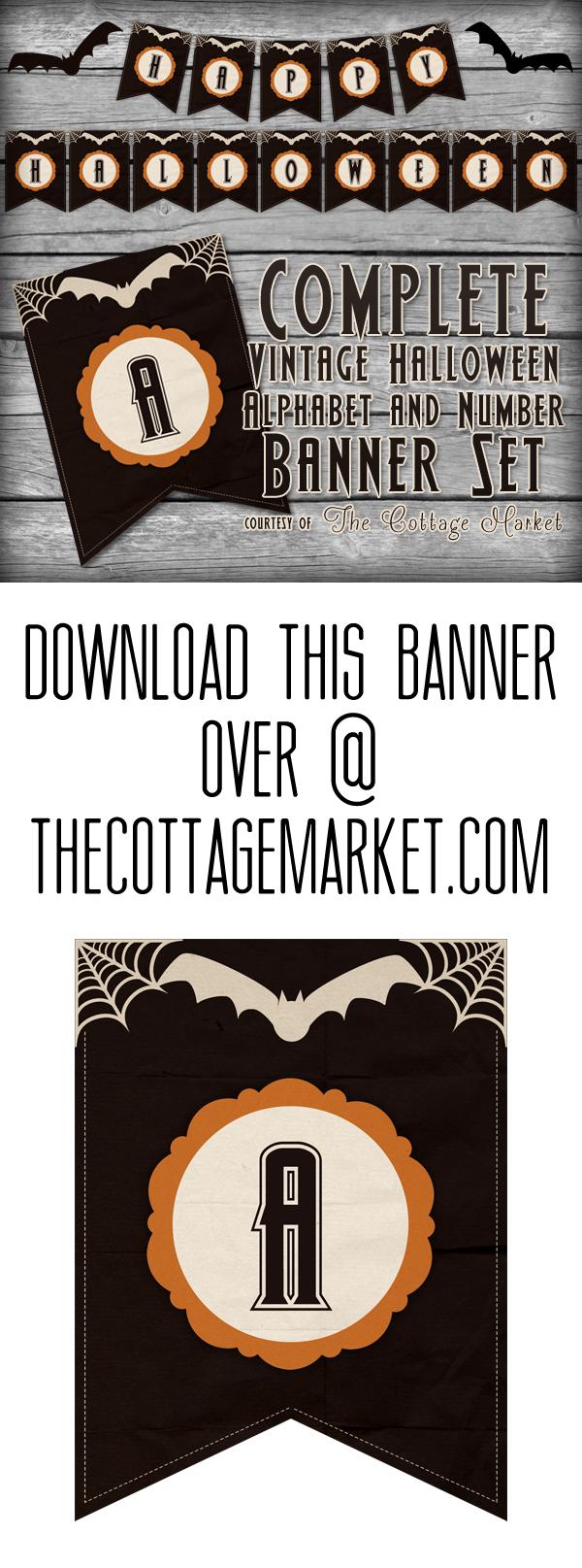 Free Printable Halloween Banner Set   The Cottage Market - Free Printable Halloween Banner