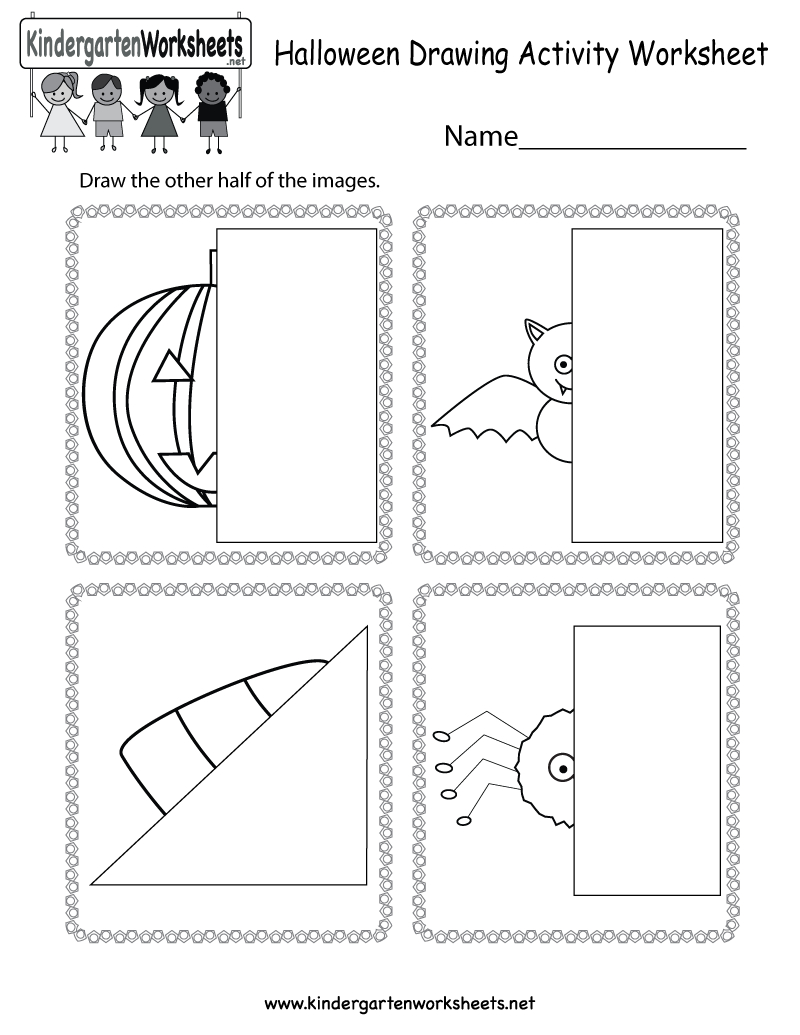 Free Printable Halloween Drawing Activity Worksheet For Kindergarten - Free Printable Drawing Worksheets
