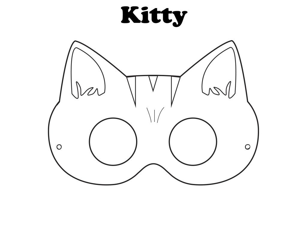 Free Printable Halloween Kitty Mask - Color It Yourself! | Awsome - Free Printable Fox Mask Template