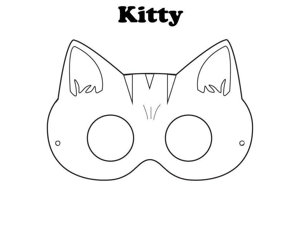 Free Printable Halloween Kitty Mask - Color It Yourself! | Awsome - Free Printable Masks