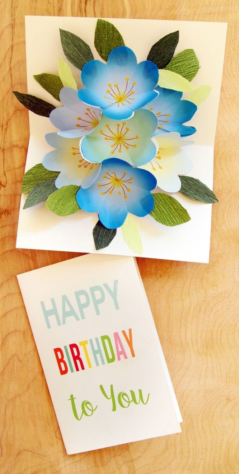 Free Printable Happy Birthday Card With Pop Up Bouquet | Flower - Free Printable Birthday Pop Up Card Templates
