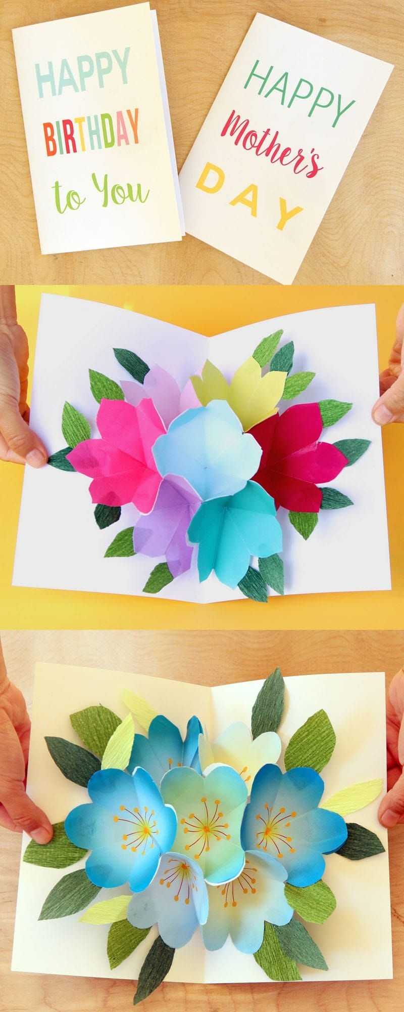 Free Printable Happy Birthday Card With Pop Up Bouquet | Printables - Create Greeting Cards Online Free Printable