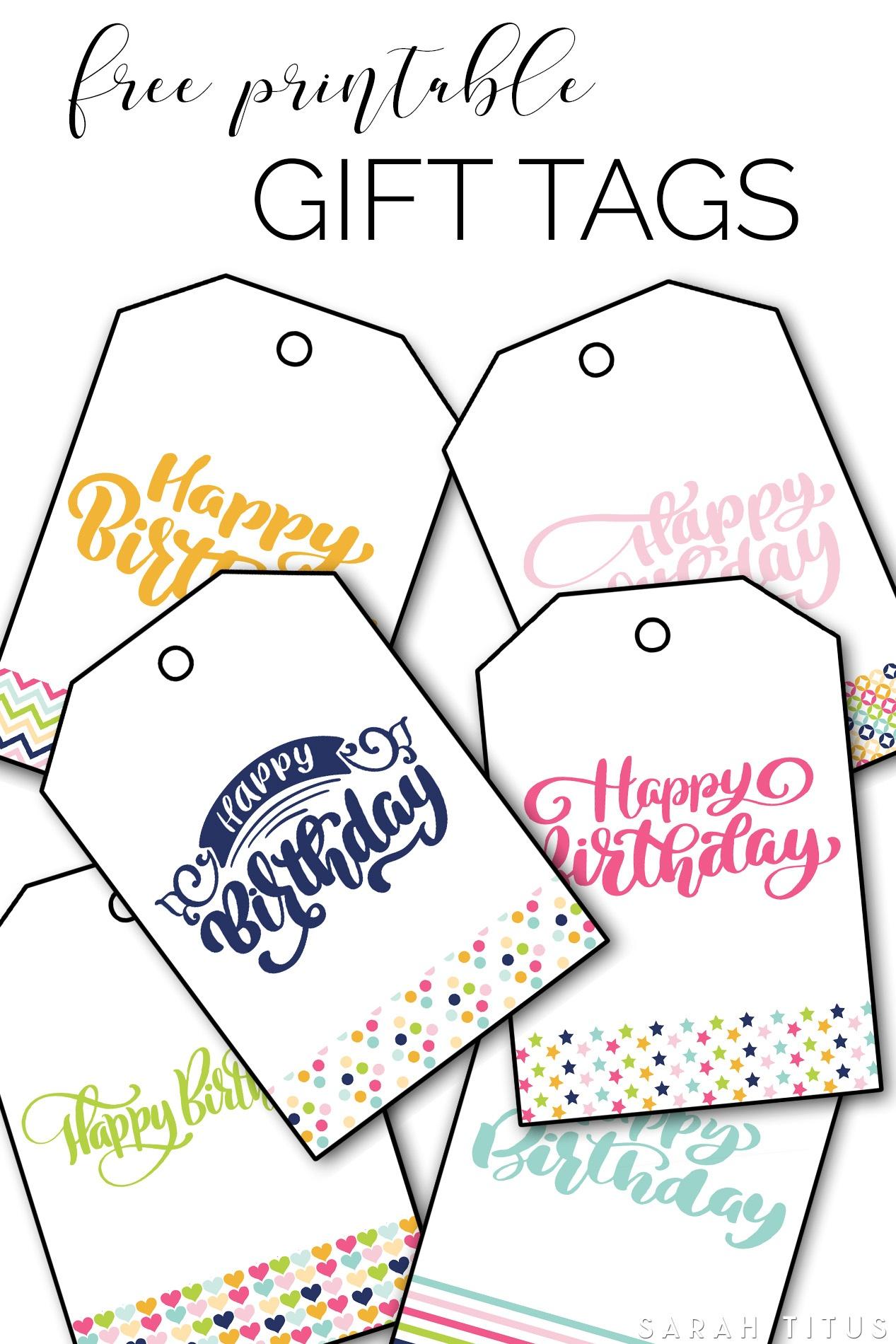 Free Printable Happy Birthday Gift Tags - Sarah Titus - Free Printable Birthday Tags