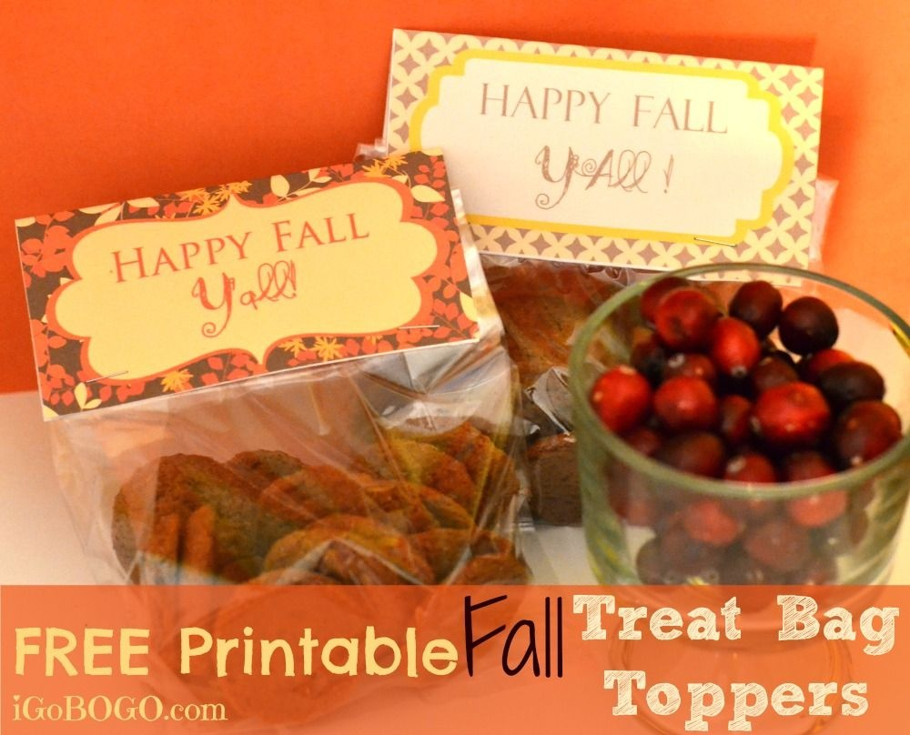 """Free Printable """"happy Fall Y'all"""" Treat Bag Toppers! 