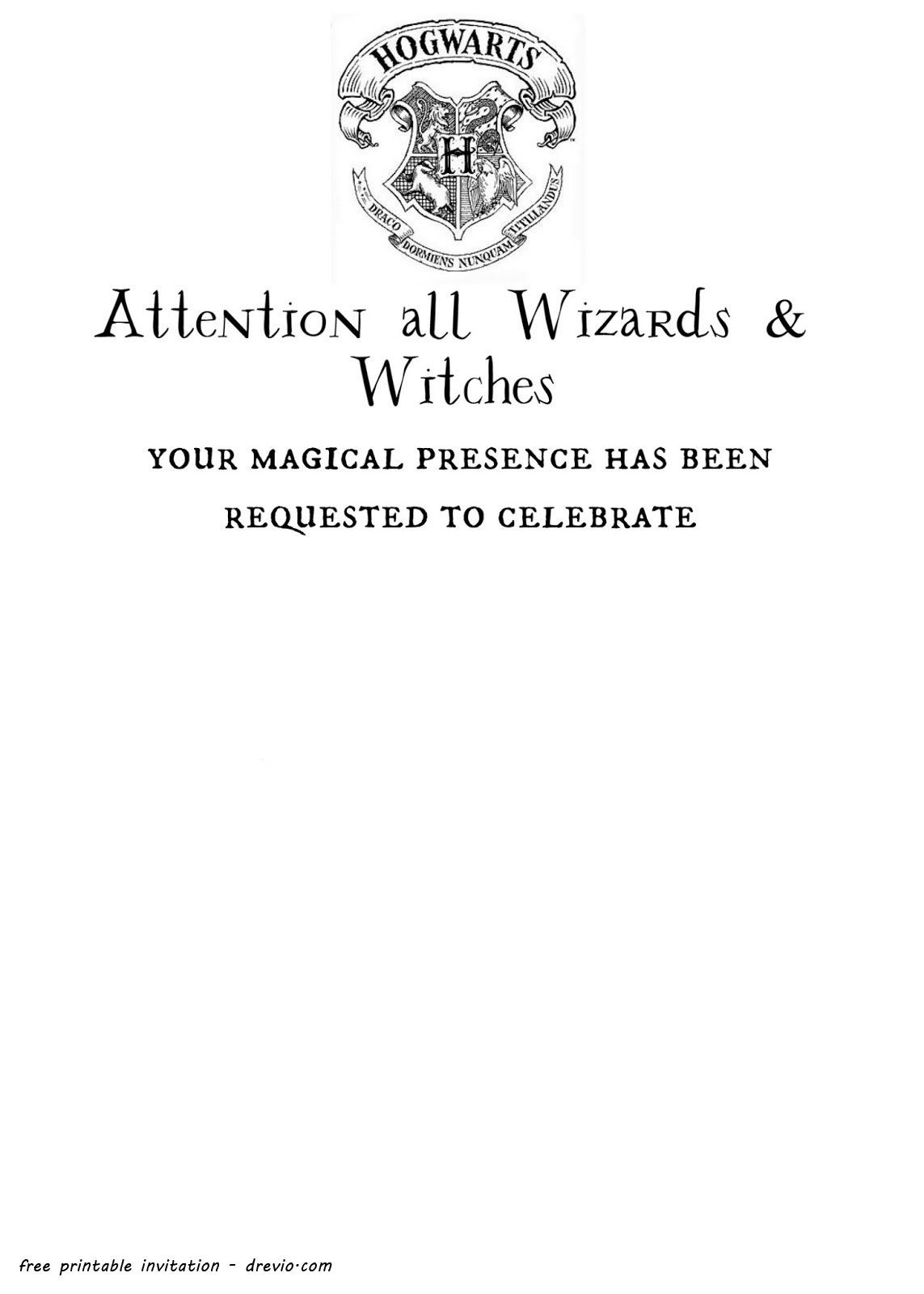 Free Printable Harry Potter - Hogwarts Invitation Template | Harry - Harry Potter Birthday Invitations Free Printable