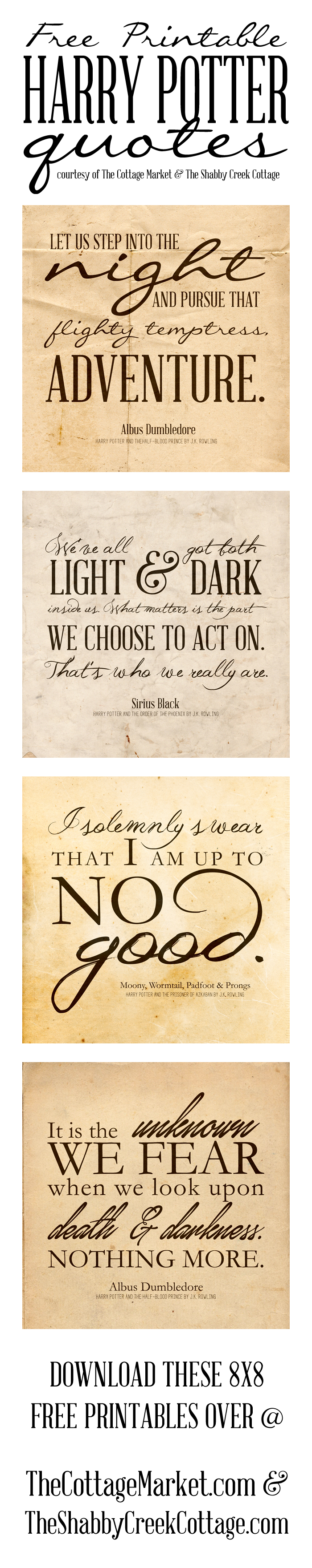 Free Printable Harry Potter Quotes | The Cottage Market - Free Printable Harry Potter Pictures