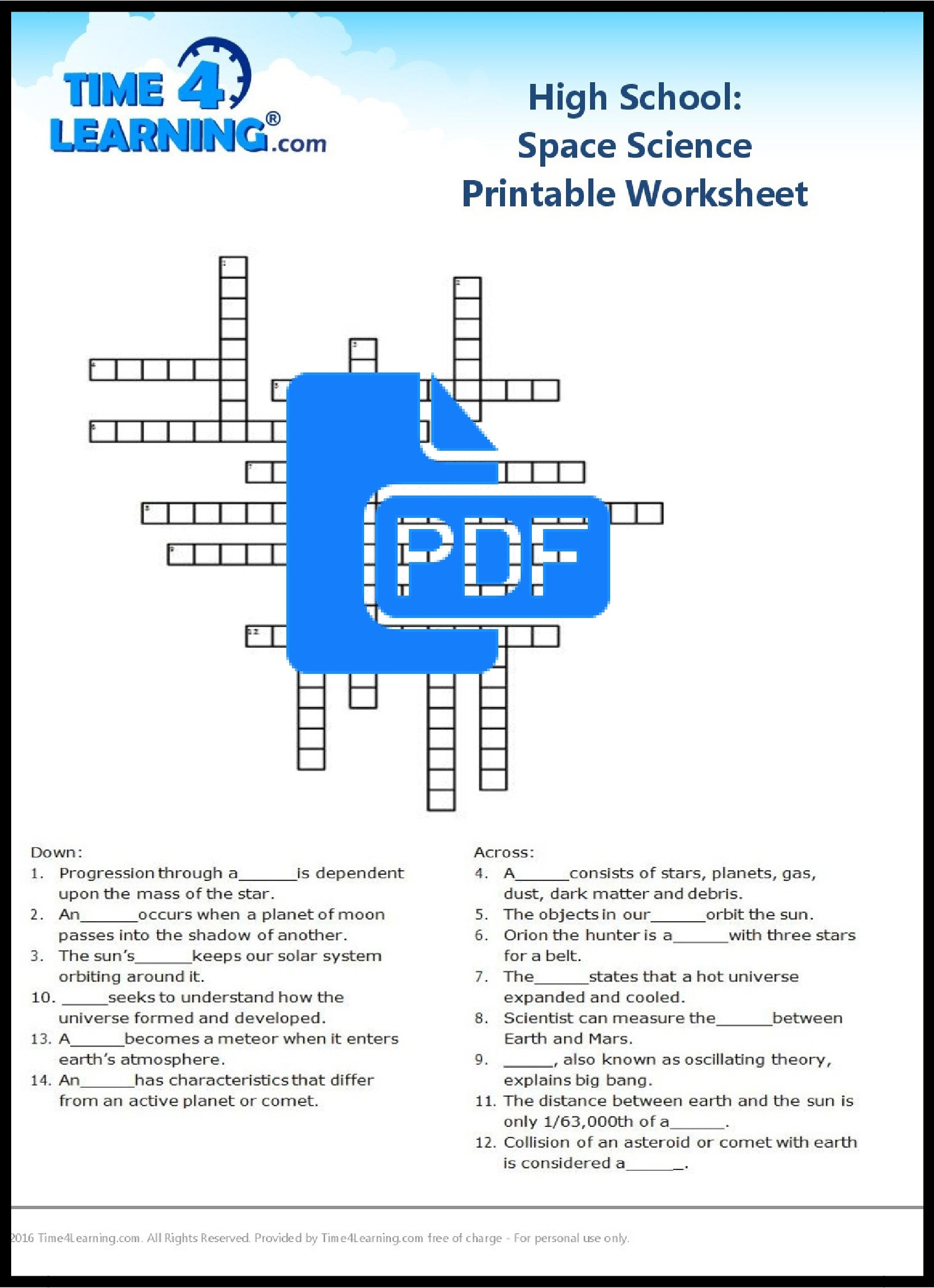 Free Printable: High School Space Science Worksheet   Time4Learning - 9Th Grade Science Worksheets Free Printable