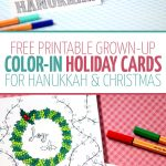 Free Printable Holiday Cards Adult Coloring Pages   Hanukkah + Christmas   Free Printable Happy Holidays Greeting Cards
