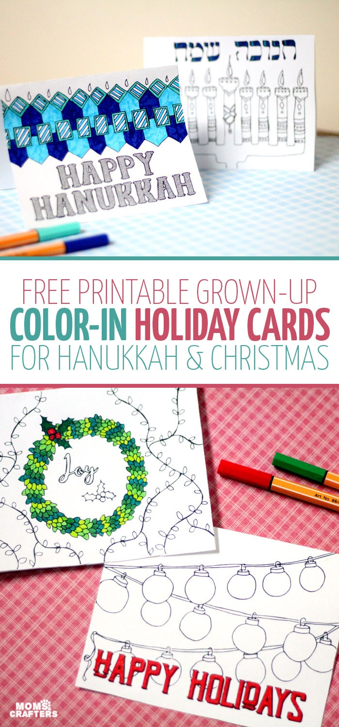 Free Printable Holiday Cards Adult Coloring Pages - Hanukkah + Christmas - Free Printable Happy Holidays Greeting Cards