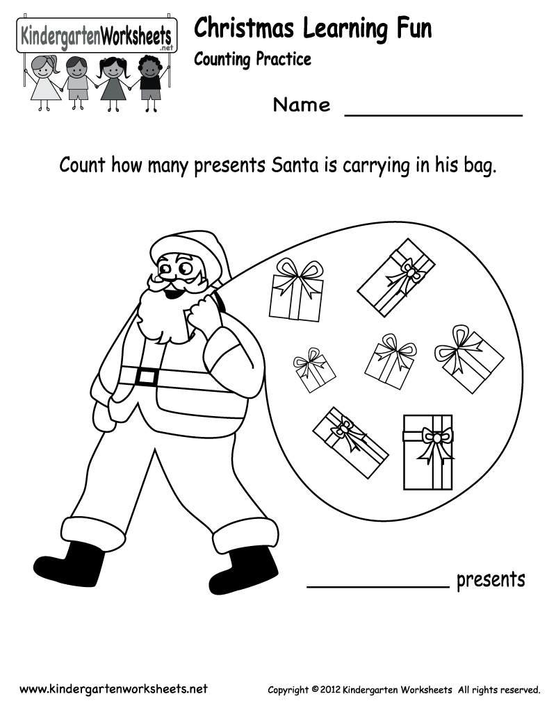 Free Printable Holiday Worksheets   Kindergarten Santa Counting - Christmas Fun Worksheets Printable Free