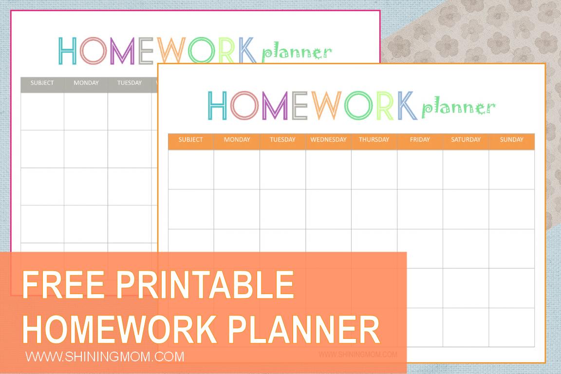 Free Printable: Homework Planner - Free Printable Homework