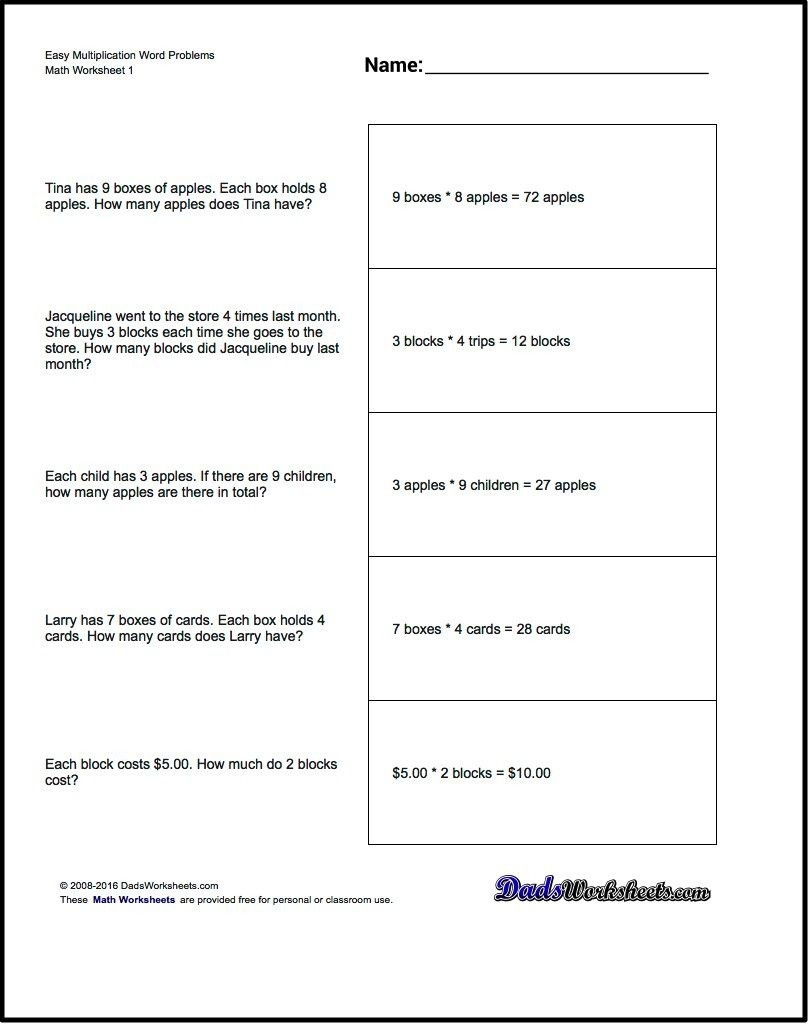 Free Printable Introductory Word Problem Worksheets For Addition For - Free Printable Math Worksheets Word Problems First Grade