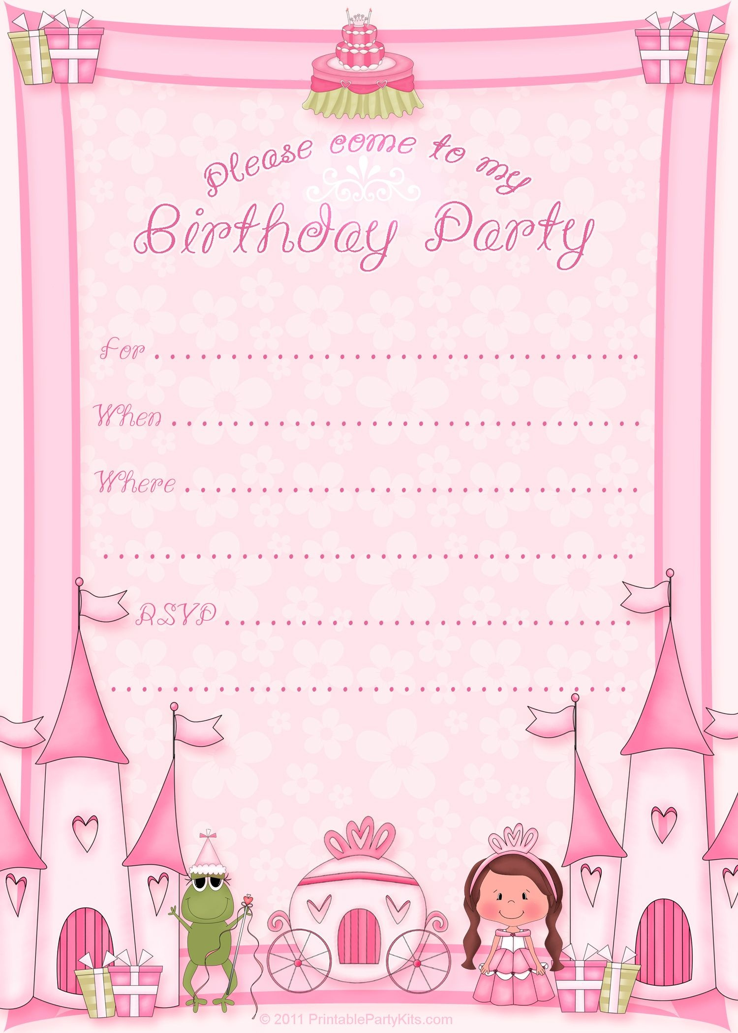 Free Printable Invitation. Pinned For Kidfolio, The Parenting Mobile - Free Printable Girl Birthday Invitations