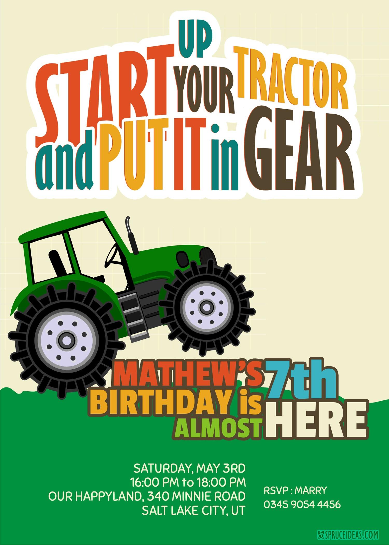 Free Printable John Deere Tractor Birthday Invitation Template - Free Printable John Deere Birthday Invitations
