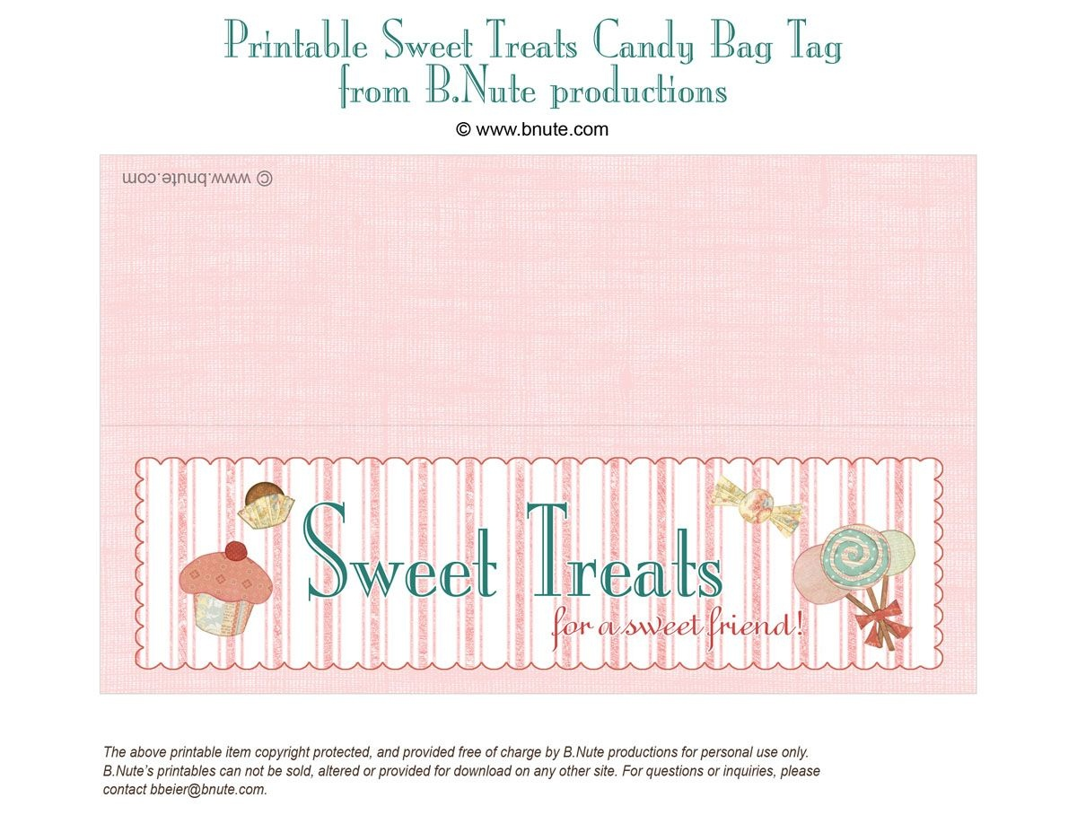 Free Printable Lables   Bnute Productions: Free Printable Sweet - Free Printable Goodie Bag Tags