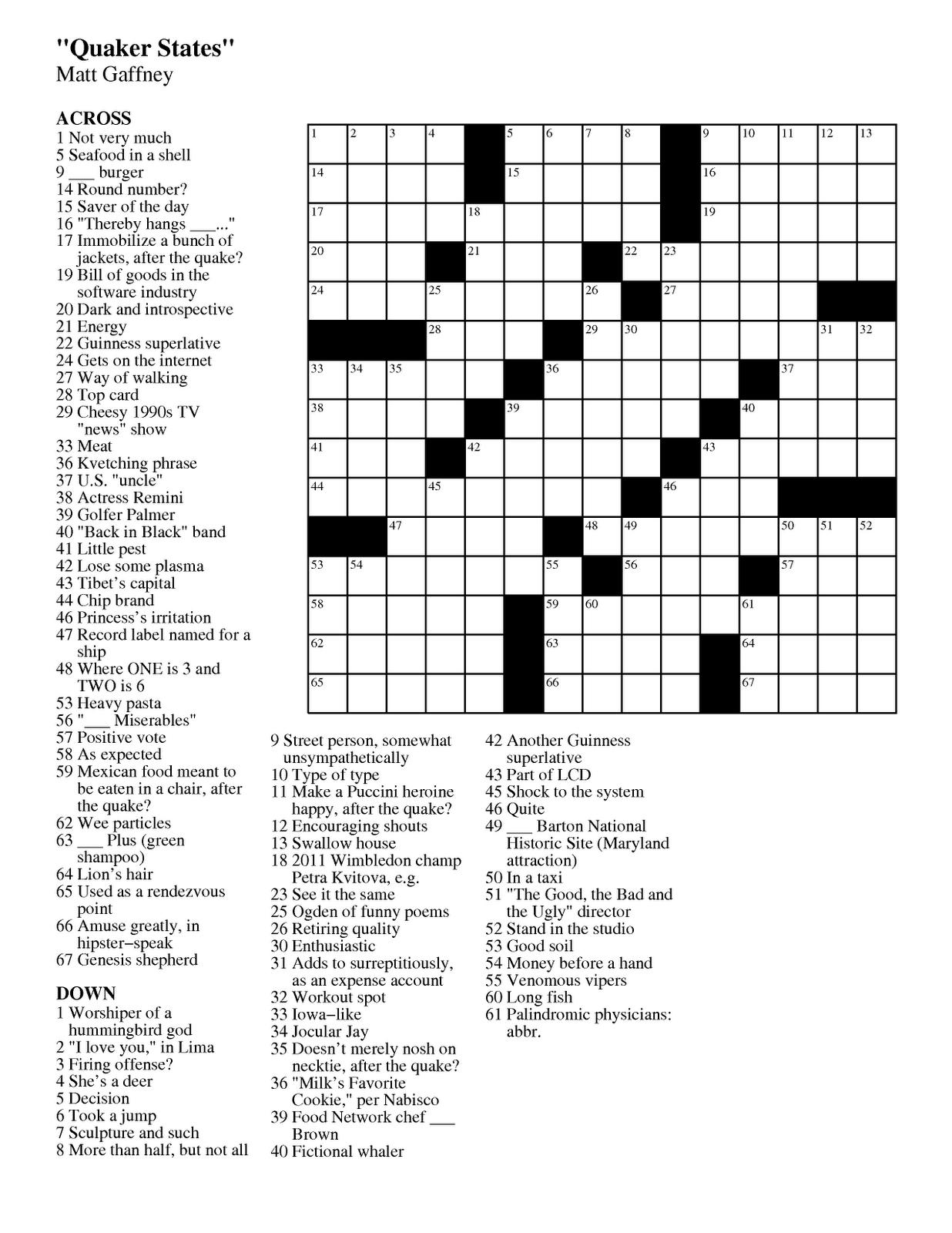 Free Printable Large Print Crossword Puzzles | M3U8 - Free Printable Summer Puzzles