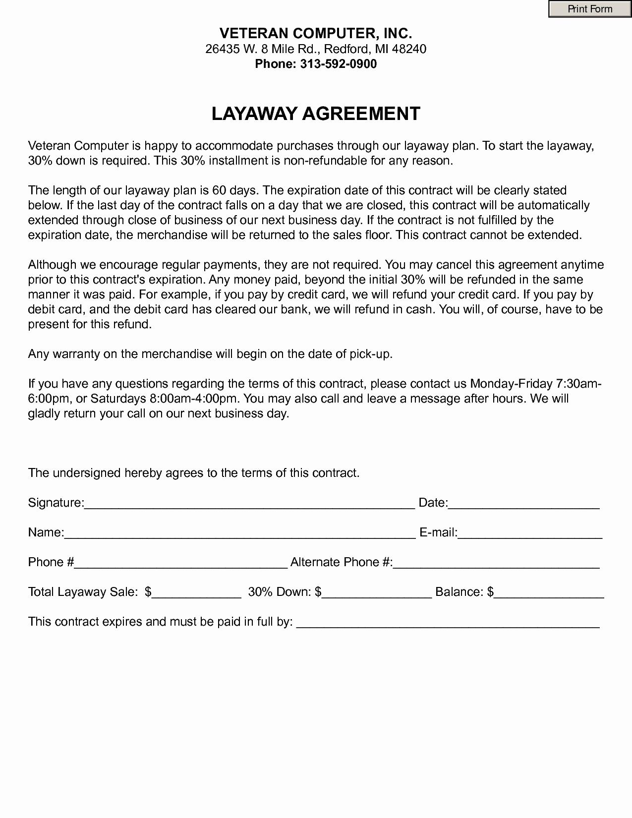 Free Printable Layaway Forms - Tduck.ca - Free Printable Layaway Forms