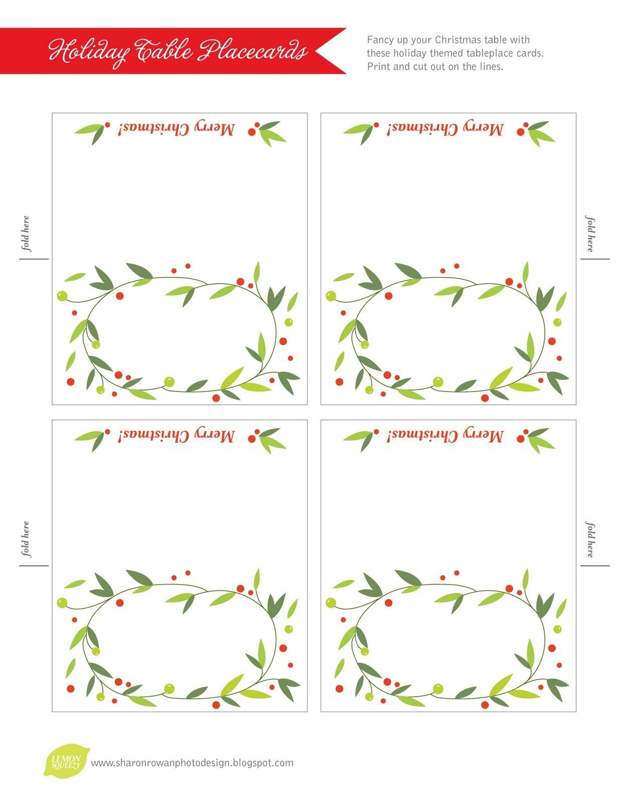 Free Printable Lemon Squeezy: Day 12: Place Cards | Christmas - Free Printable Christmas Tent Cards