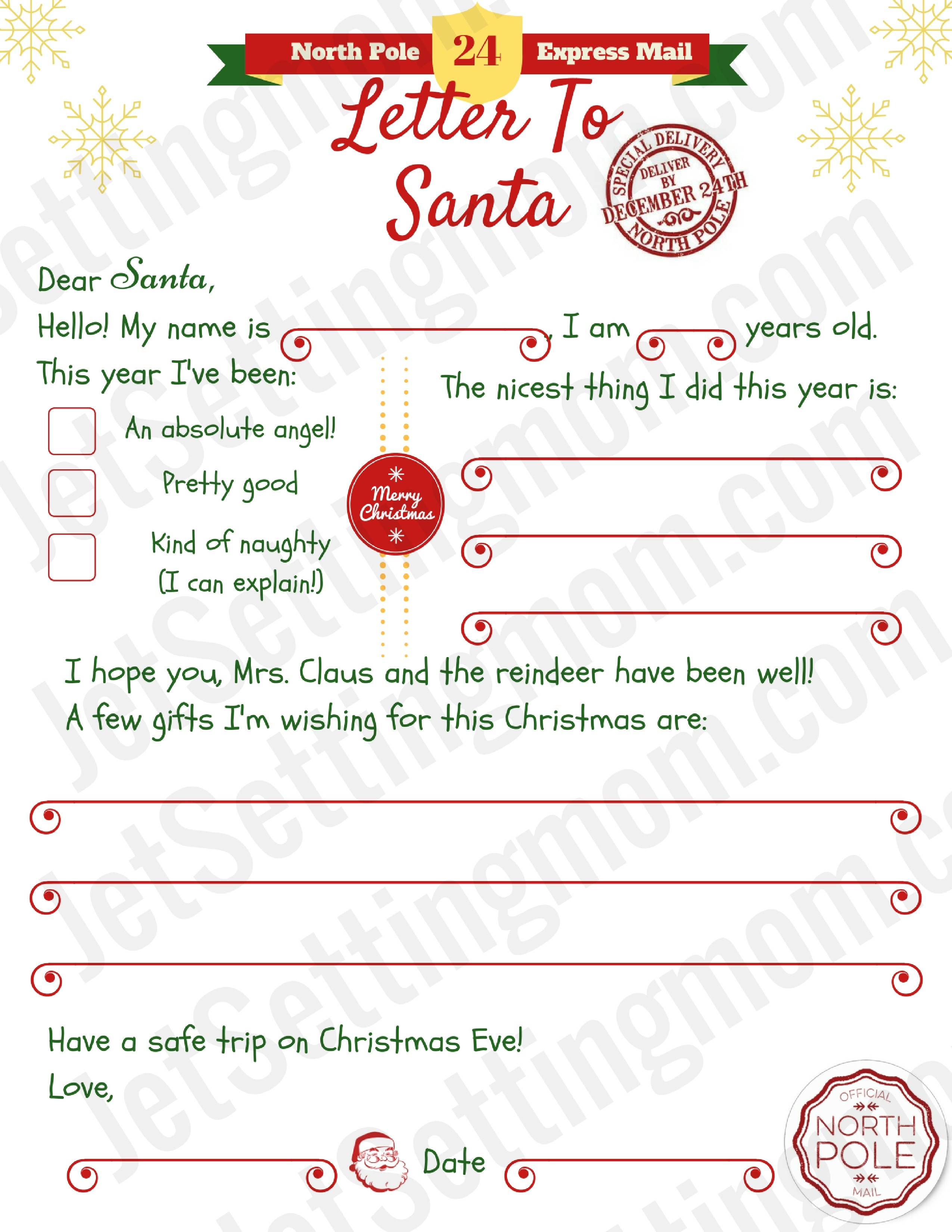 Free Printable Letter To Santa Template - Writing To Santa Made Easy! - Free Printable Letter Writing Templates