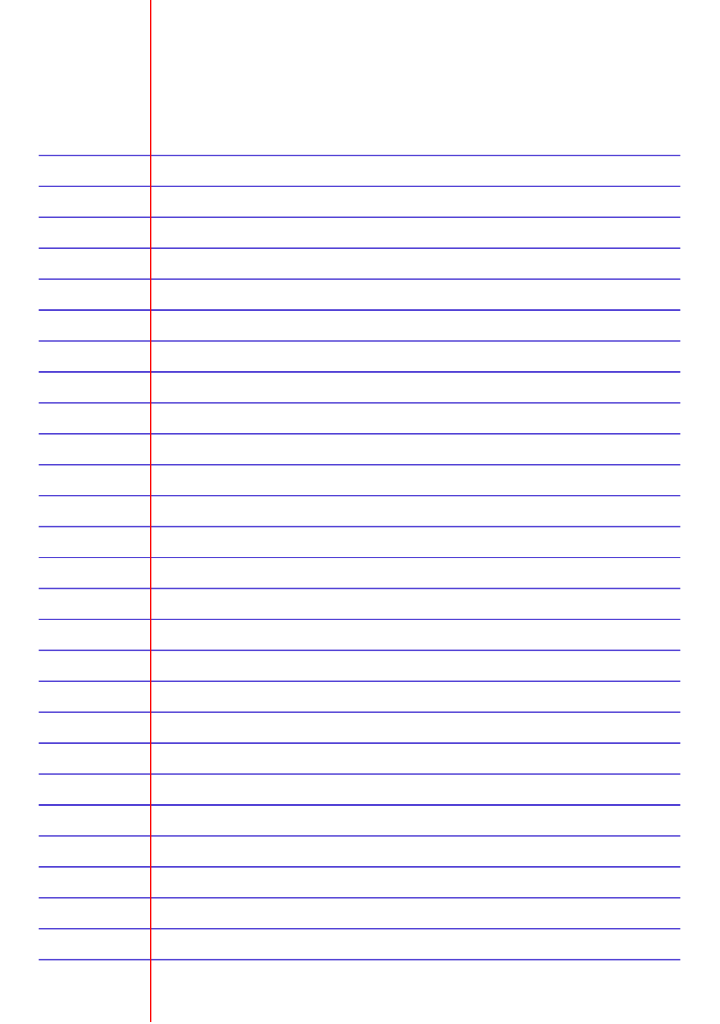 Free Printable Lined Paper Template - Narrow Ruled 6.35Mm Blue Pdf - Free Printable Lined Paper
