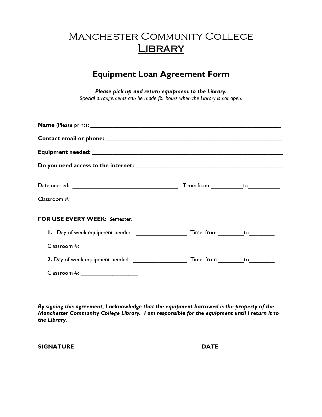 Free Printable Loan Agreement Form Form (Generic) - Free Printable Loan Forms