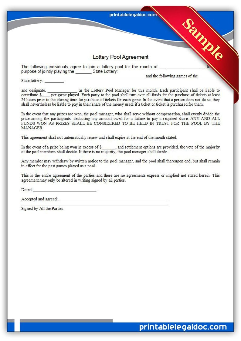 Free Printable Lottery Pool Agreement Legal Forms | Free Legal Forms - Free Legal Forms Online Printable
