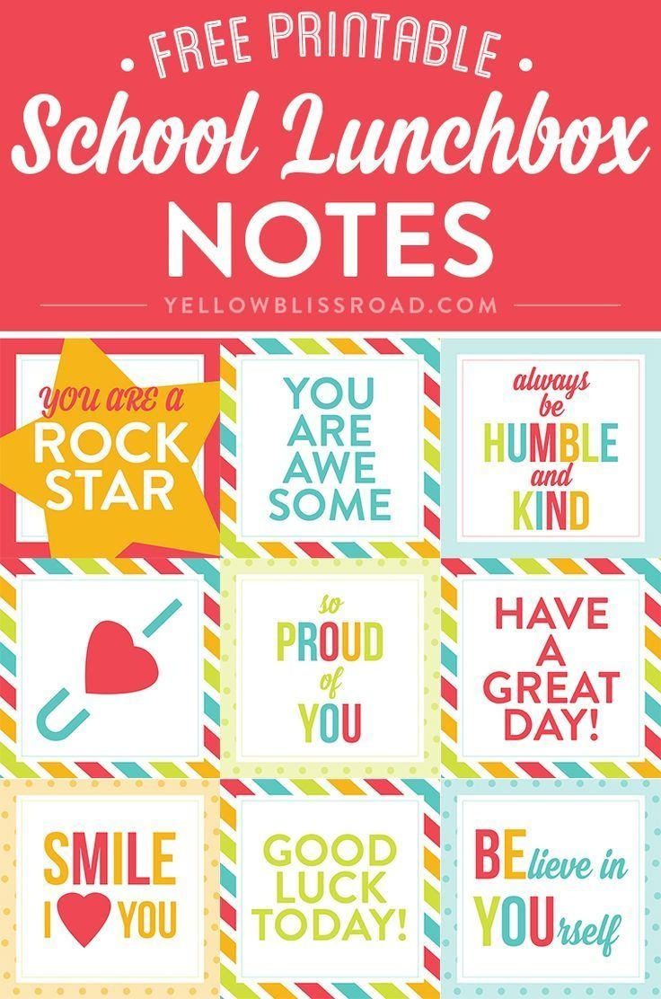Free Printable Lunch Box Notes | Creative Diy And Crafts Exchange - Free Printable School Notes