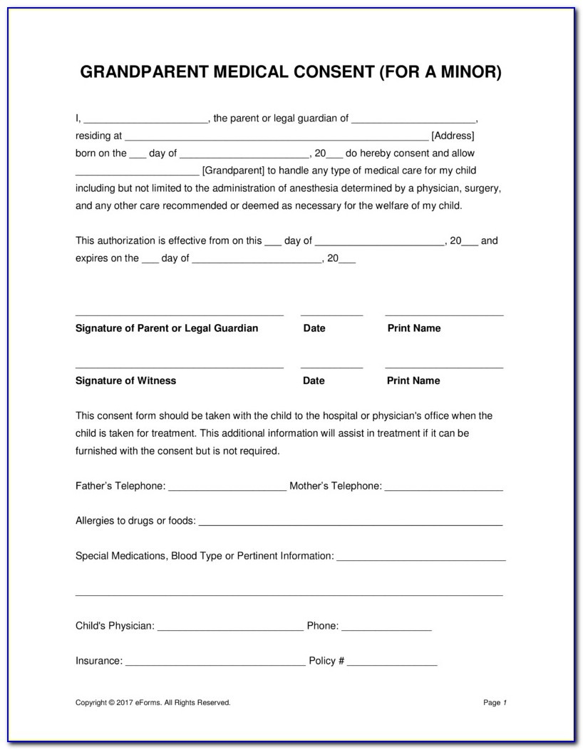 Free Printable Medical Consent Form For Minor Child - Form : Resume - Free Printable Medical Release Form