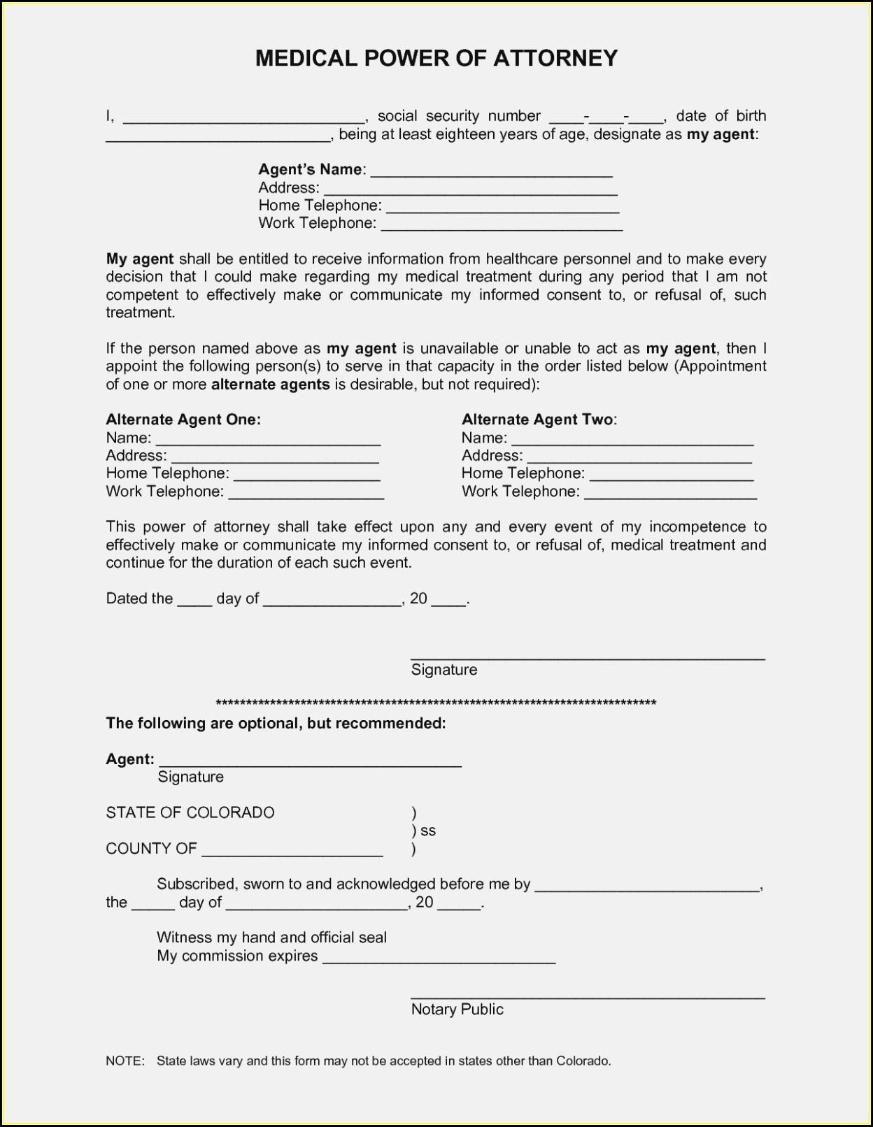 Free Printable Medical Power Of Attorney Forms - Form : Resume - Free Printable Medical Power Of Attorney Forms