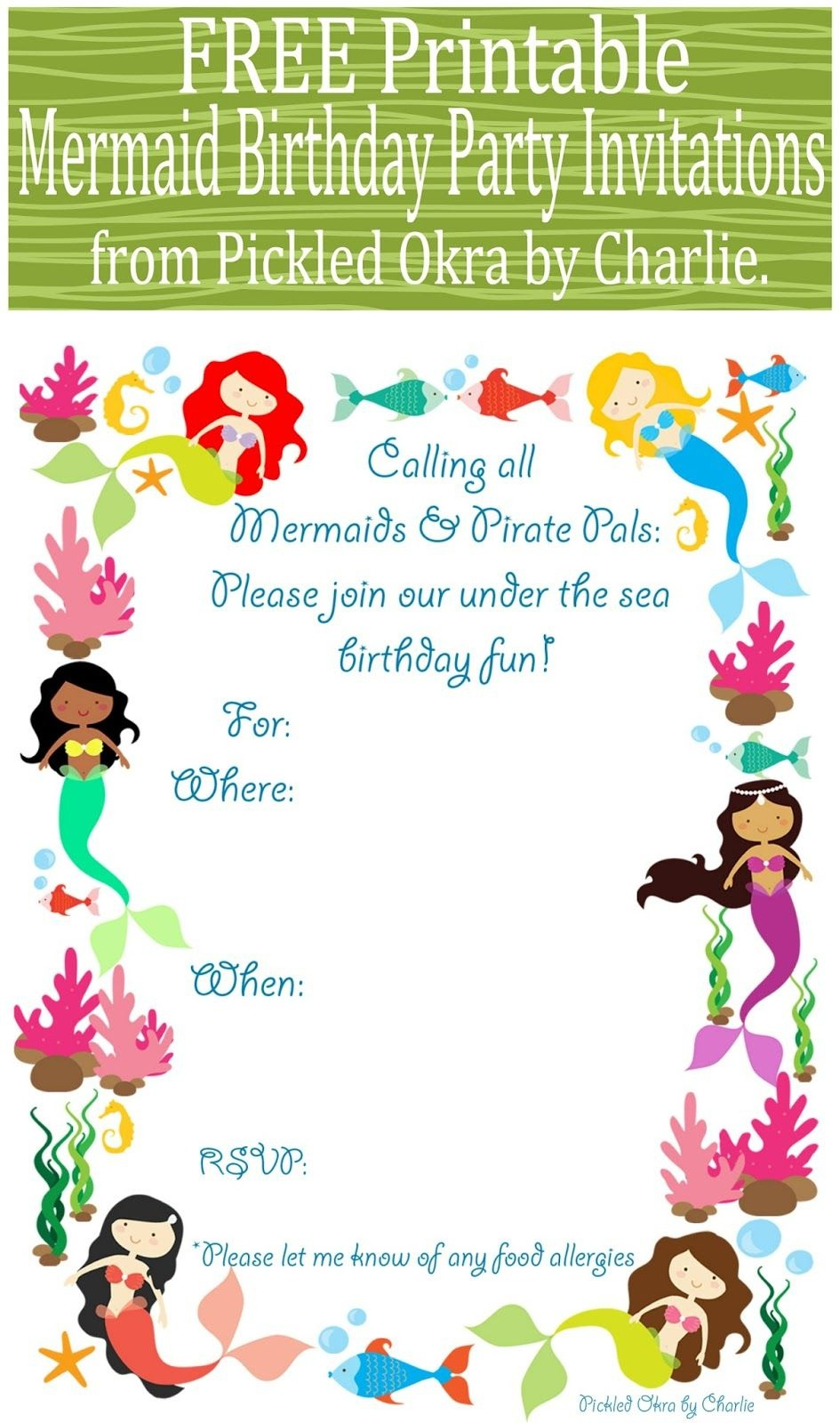 Free Printable Mermaid Birthday Party Invitations For Your Next - Mermaid Birthday Invitations Free Printable