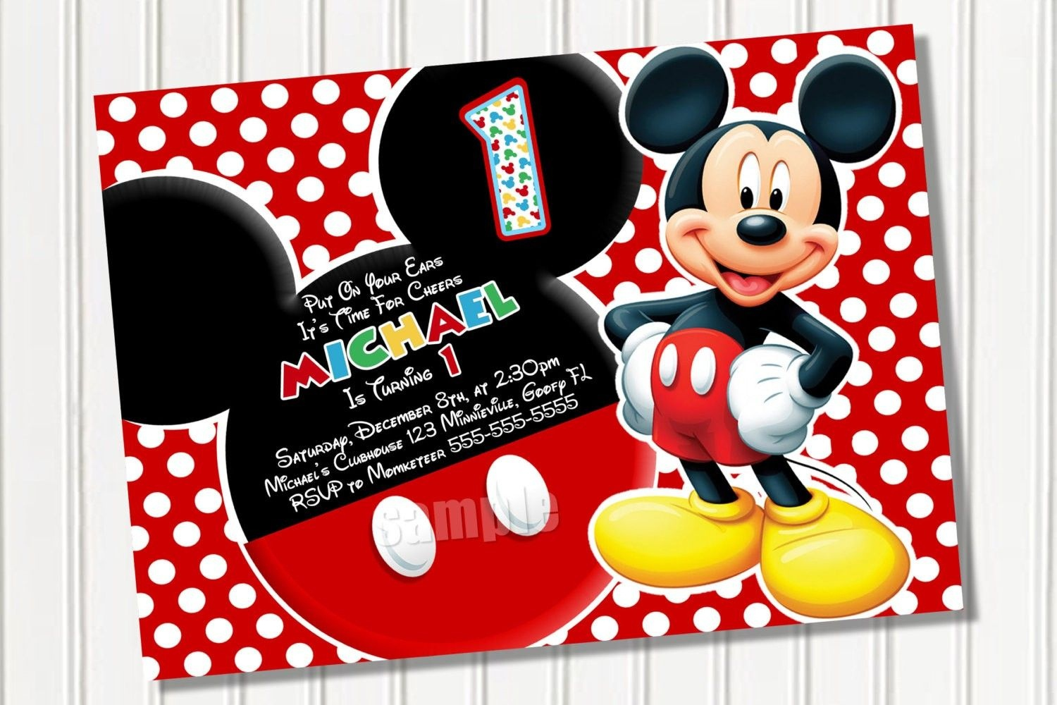 Free Printable Mickey Mouse 1St Birthday Party Invitations | Israel - Free Printable Mickey Mouse Invitations