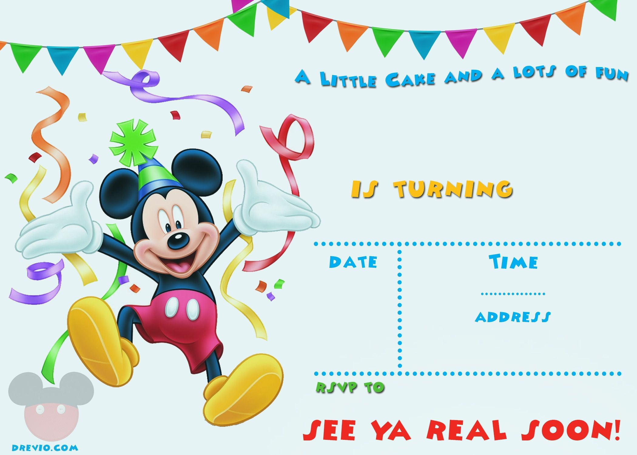 Free Printable Mickey Mouse Party Invitation Template | Free - Free Printable Mickey Mouse Birthday Invitations