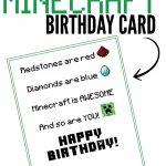 Free Printable Minecraft Birthday Card | Papercrafting | Minecraft   Free Printable Kids Birthday Cards Boys