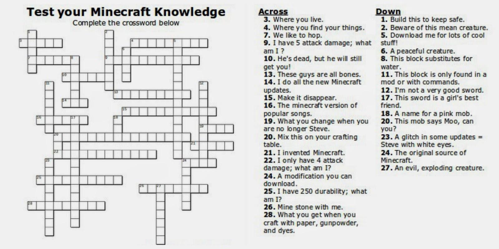 Free Printable Minecraft Crossword Search: Test Your Minecraft - Free Printable Crossword Puzzles For Kids