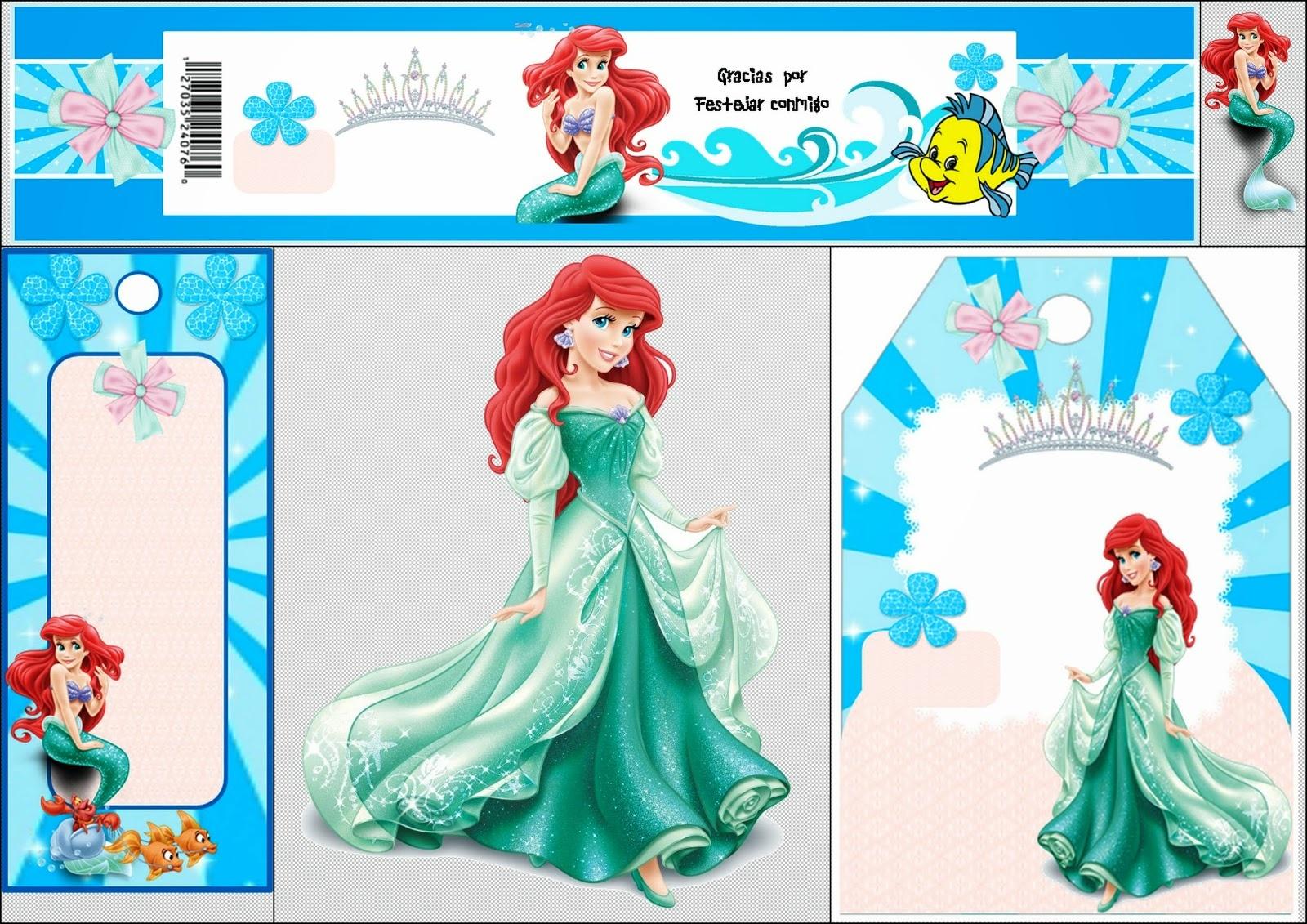 Free Printable Mini Kit For Your Little Mermaid Party. - Oh My - Free Printable Little Mermaid Water Bottle Labels