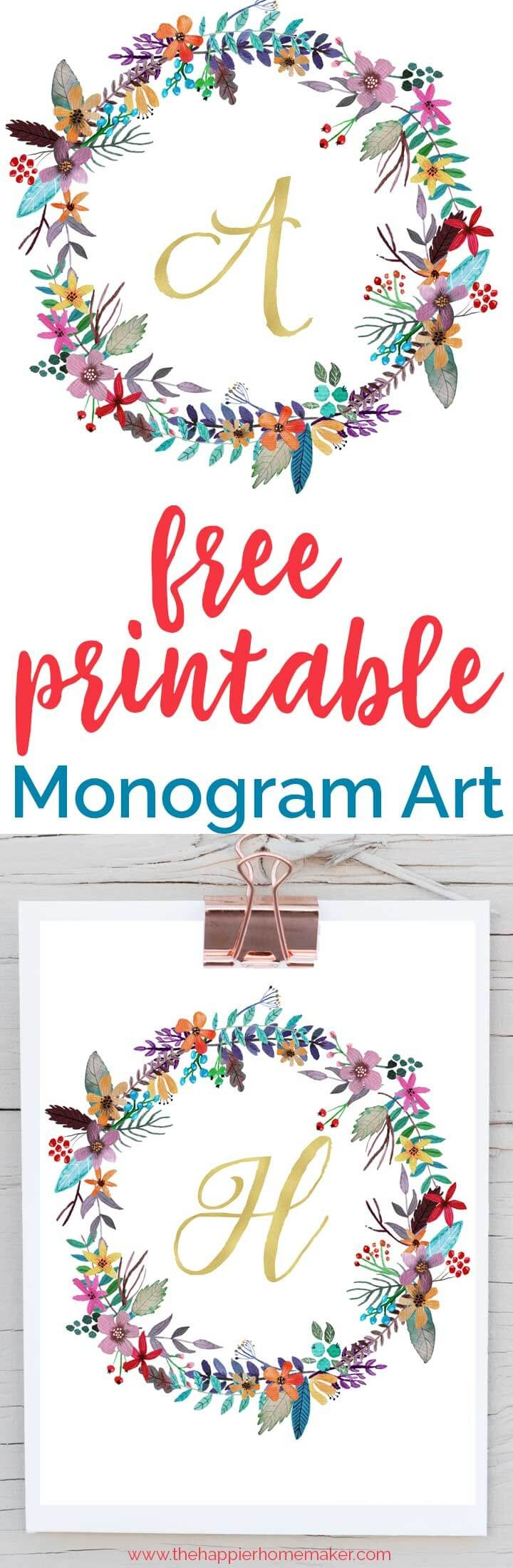 Free Printable Monogram Art   The Happier Homemaker - Free Printable Monogram Letters