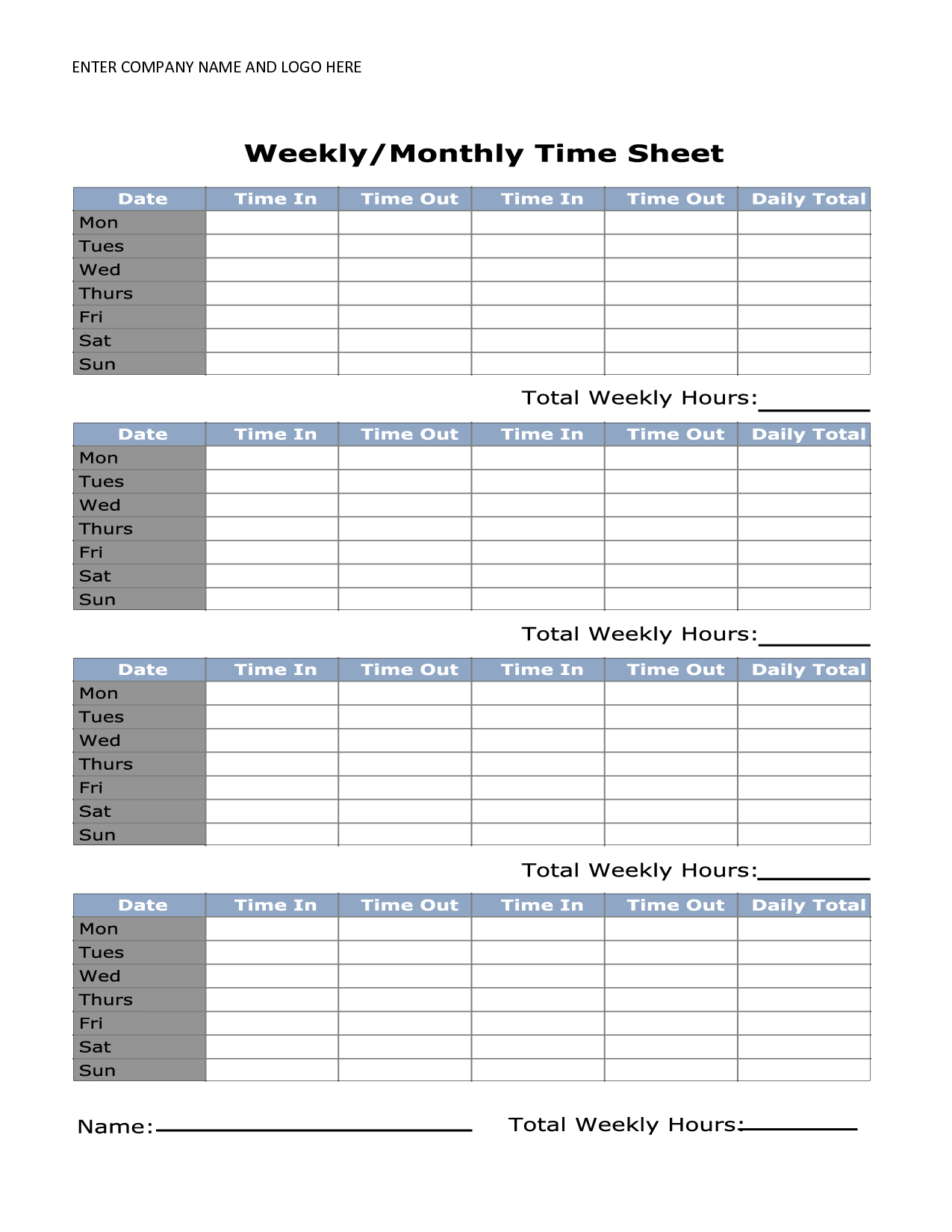 Free Printable Monthly Time Sheets | Time Sheet | Timesheet Template - Free Printable Time Sheets