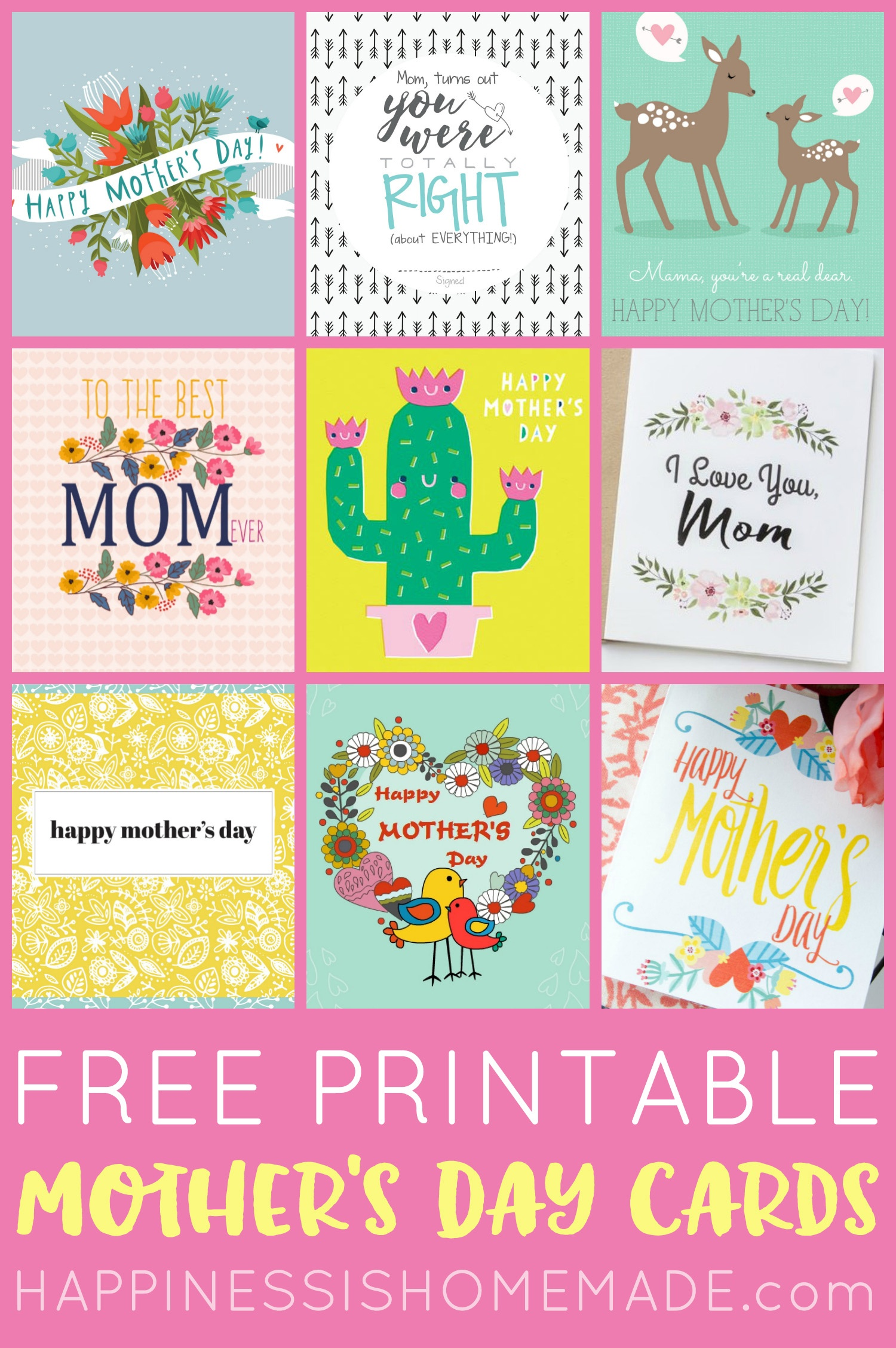 Free Printable Mother's Day Cards - Happiness Is Homemade - Free Printable Images