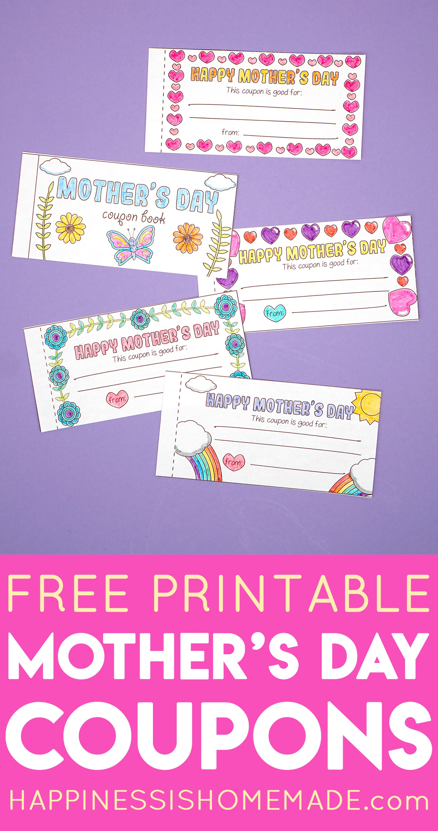 Free Printable Mother's Day Coupons - Happiness Is Homemade - Free Printable Mother's Day Games