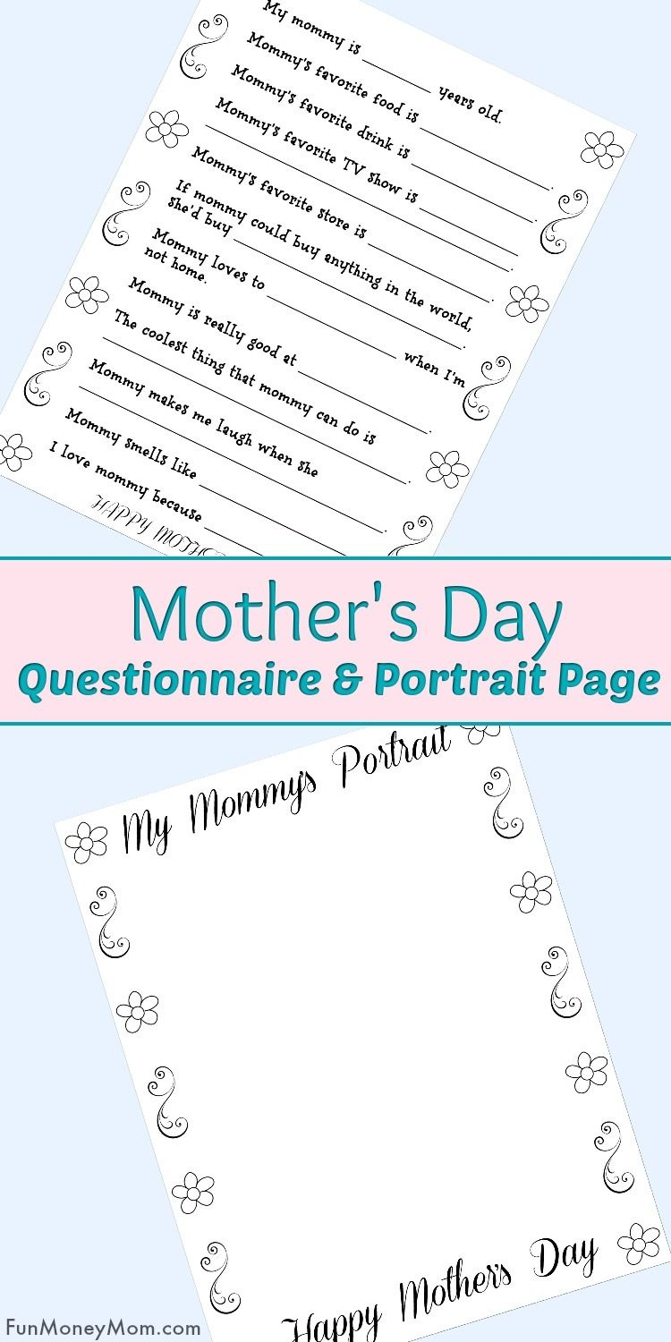 Free Printable Mother's Day Questionnaire & Portrait Page | Best Of - Free Printable Mother's Day Questionnaire