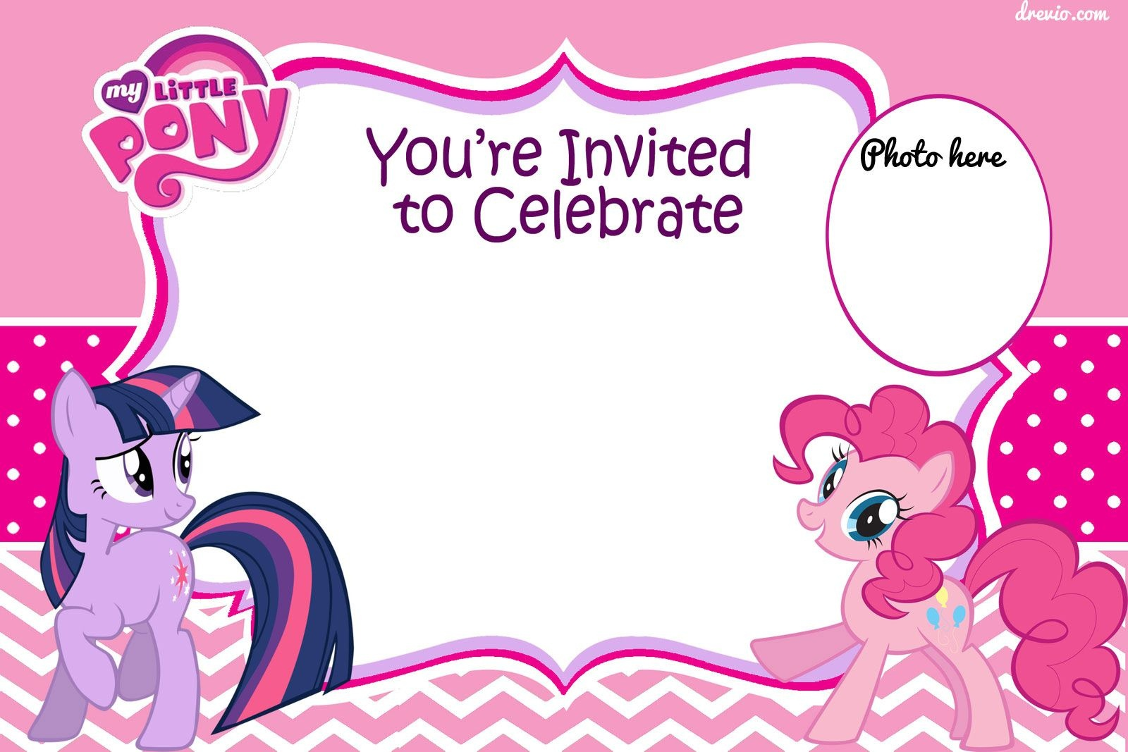 Free Printable My Little Pony Birthday Invitation Template | Free - Free Printable My Little Pony Thank You Cards