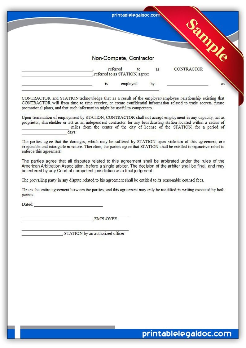 Free Printable Noncompete, Contractor Legal Forms | Free Legal Forms - Free Legal Forms Online Printable