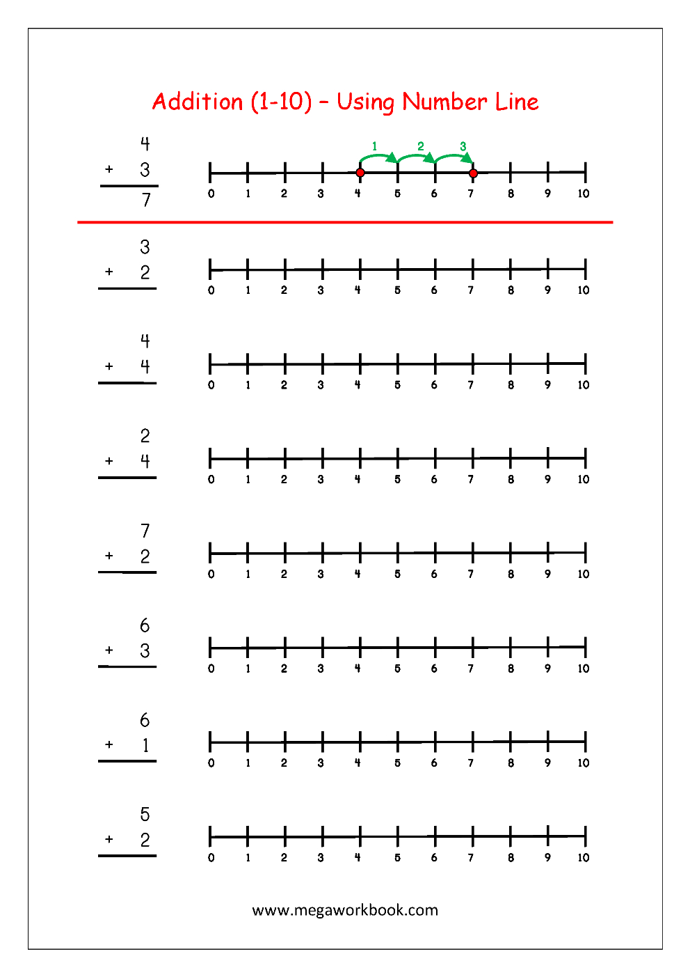 Free Printable Number Addition Worksheets (1-10) For Kindergarten - Free Printable Number Line