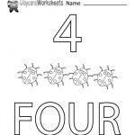Free Printable Number Four Learning Worksheet For Preschool   Free Printable Learning Pages