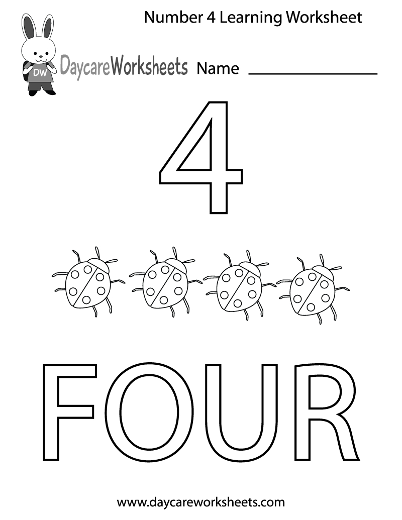 Free Printable Number Four Learning Worksheet For Preschool - Free Printable Learning Pages