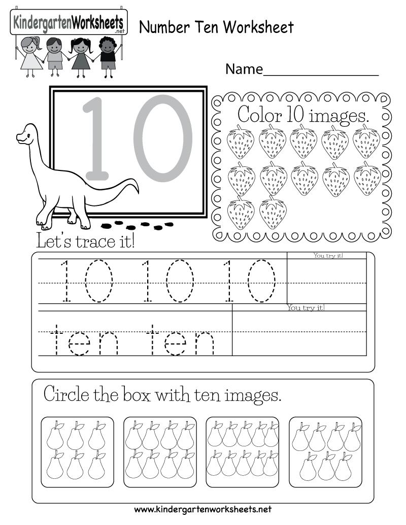Free Printable Number Ten Worksheet For Kindergarten - Free Printable Number Worksheets