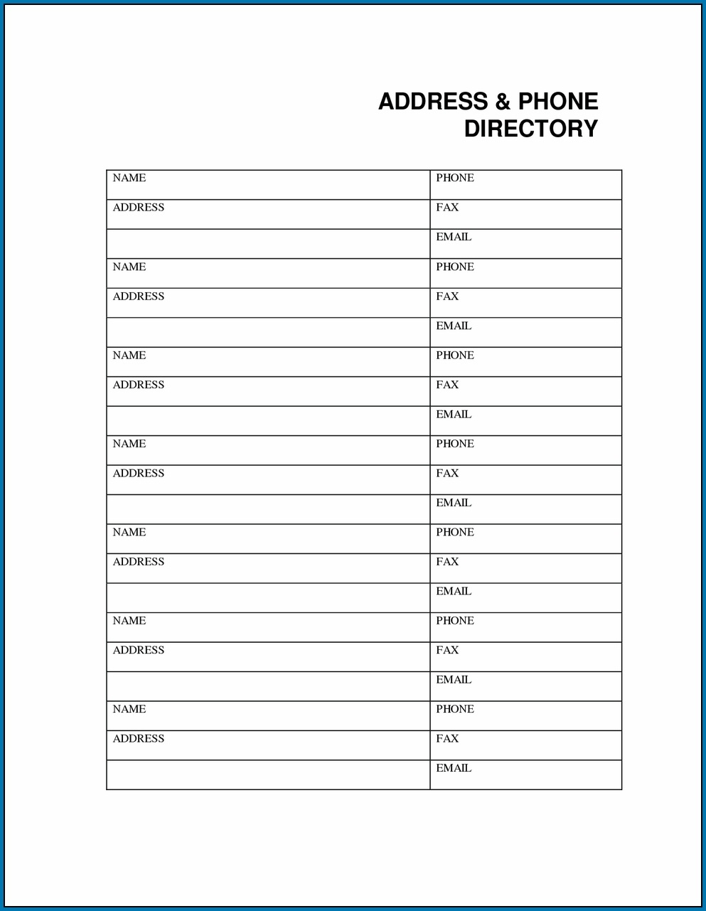 Free Printable Office Phone List Template #90 - Free Printable Phone List Template