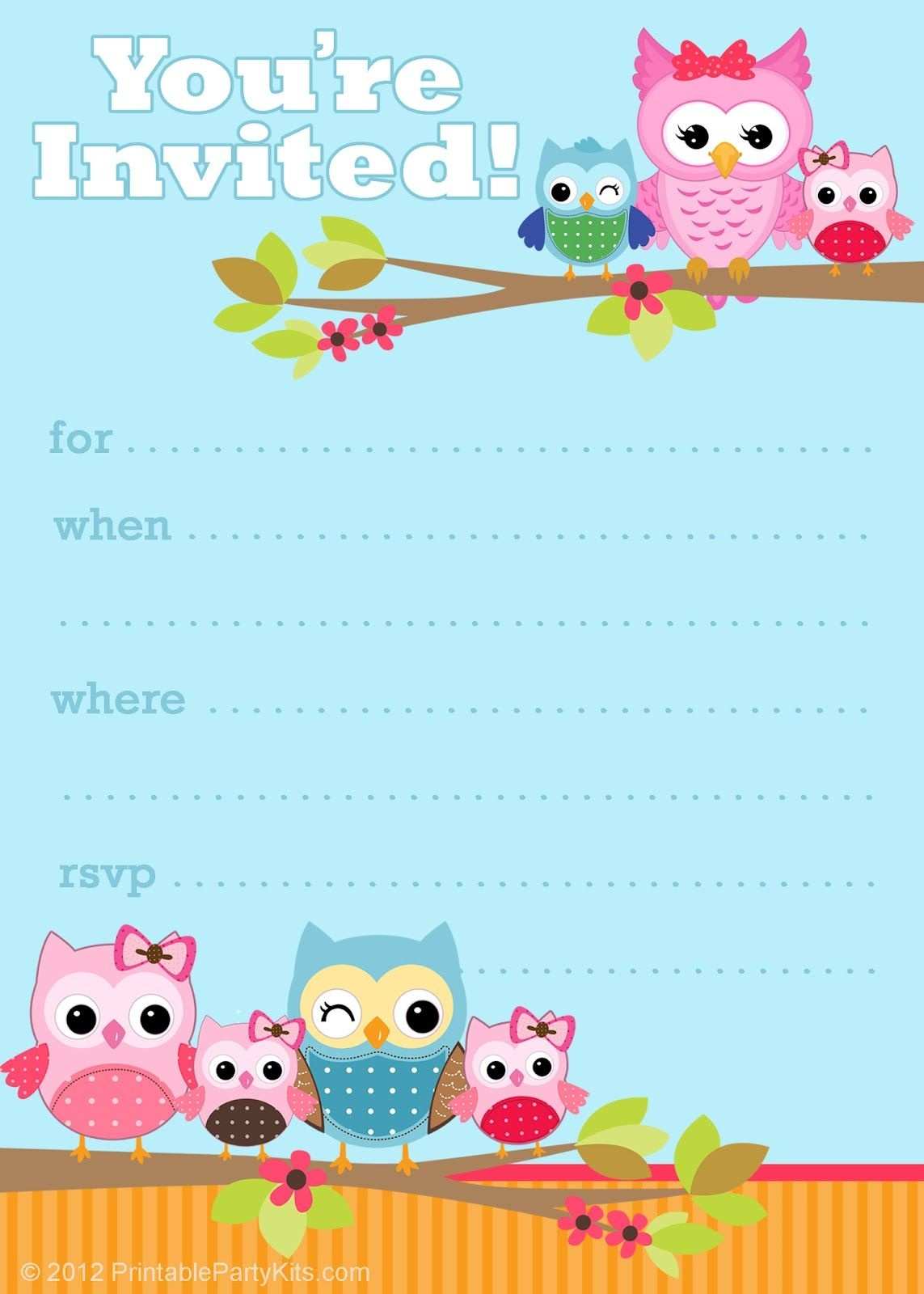 Free Printable Owl Invitations From Printablepartyinvitations - Free Printable Birthday Invitation Cards