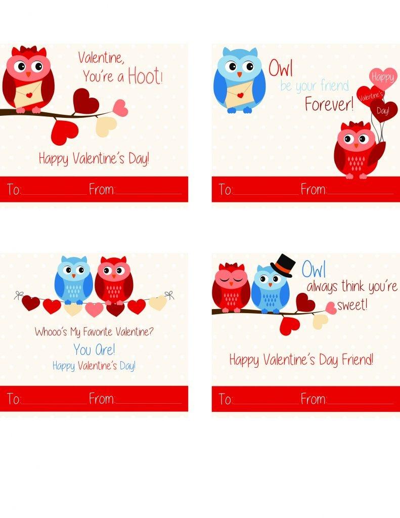 Free Printable Owl Valentine Cards | California Unpublished - Free Printable Owl Valentine Cards